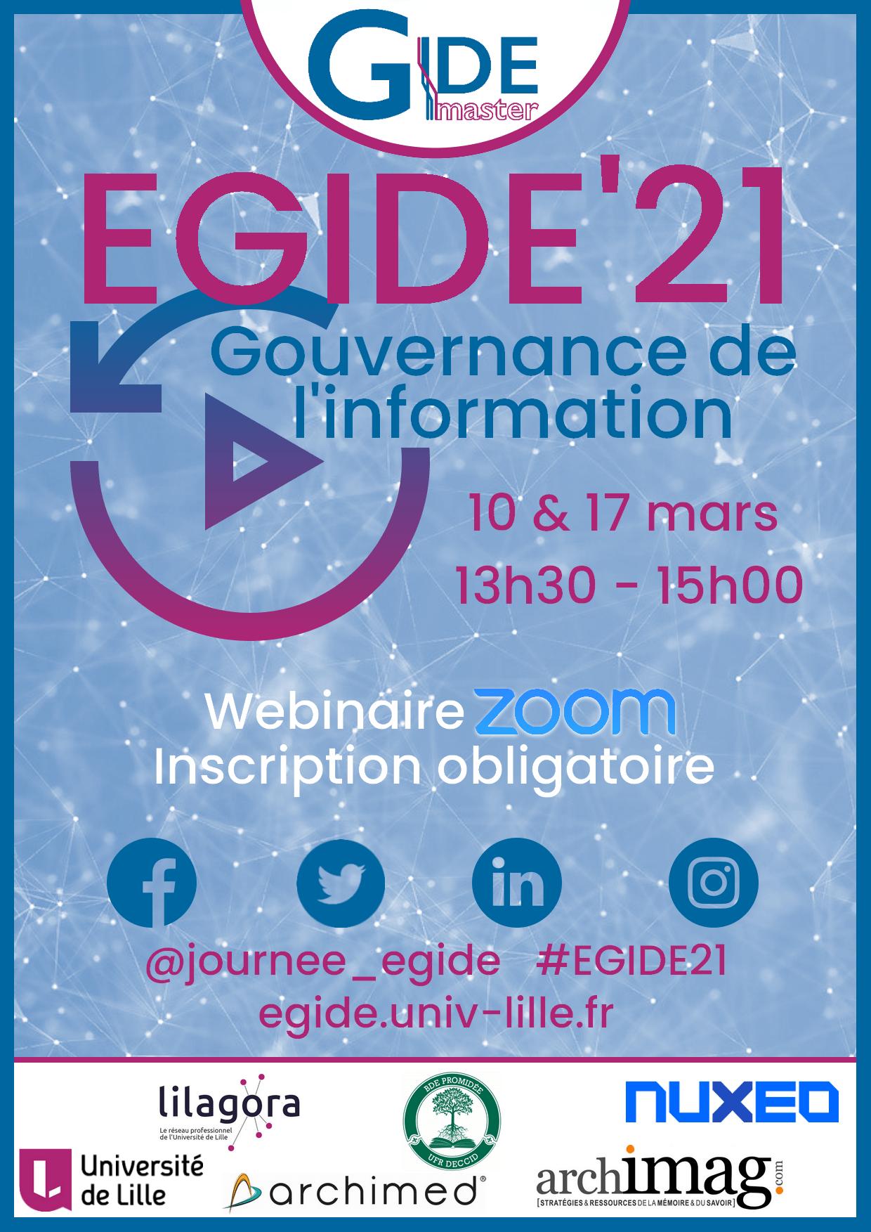 Affiche de la journée EGIDE'21 sur Zoom